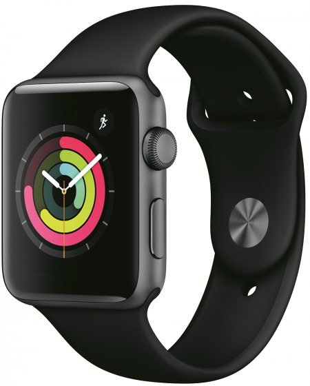 Apple Watch 3, 42mm Space Grey, Black Sport Band