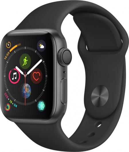 Apple Watch 4, 40mm Space Grey, Black Sport Band