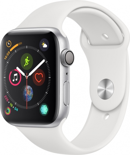 Apple Watch 4, 44mm Silver, White Sport Band